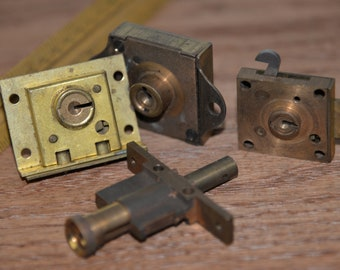 Lot of 4 Vintage Cabinet, Drawer Locks without Keys steam punk industrial