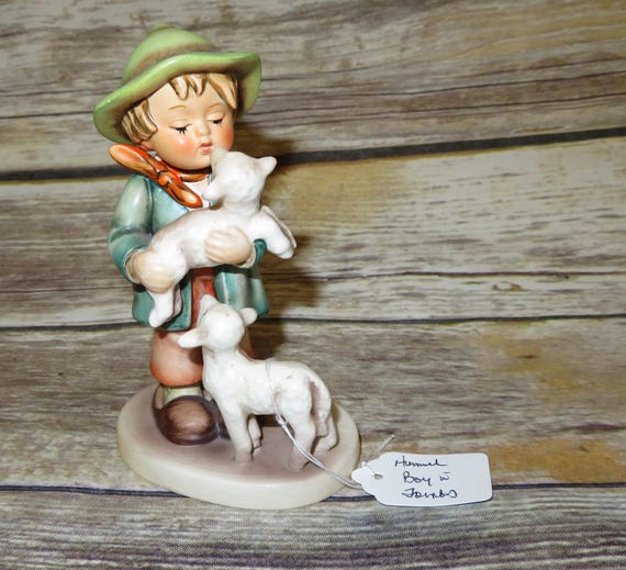 "1960-72 Shepherd's Boy #64 TMK3 1960-72 stands 6.50"" tall Hummel Goebel Boy with Lamb"
