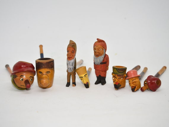 On Sale Vintage Estate tobacco pipes Characters, Gnomes, Folk Art, Grotesque Cherry Wood Austria Germany