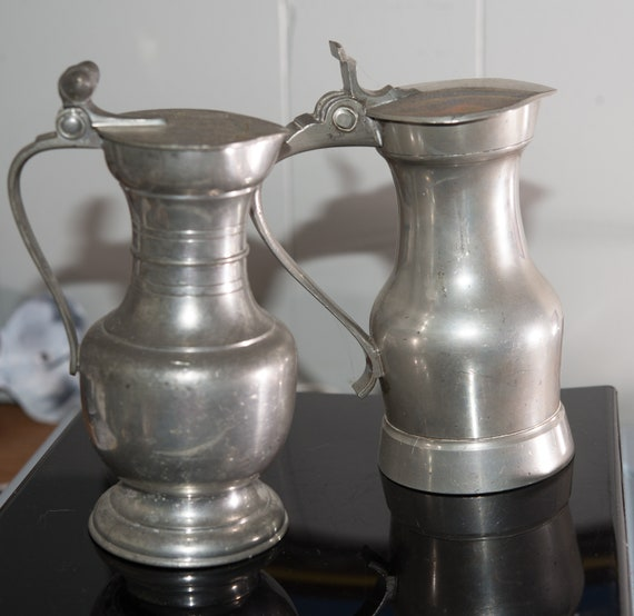 Pair of Pewter Antique Syrup Pitchers, English and American, Acorn Finial Great for re-enactment , country living