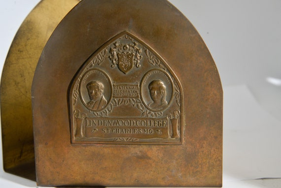 Antique Lindenwood College university Brass Bookends Centenial 1927 Commemortive antique bookends