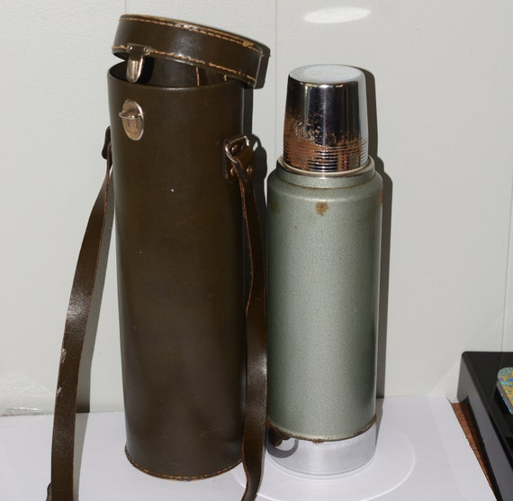 1968 Stanley Aladdin Thermos with Leather case Vintage Picinic Hunting Wear Classic All Metal Thermos with original Case 00468 Date Code