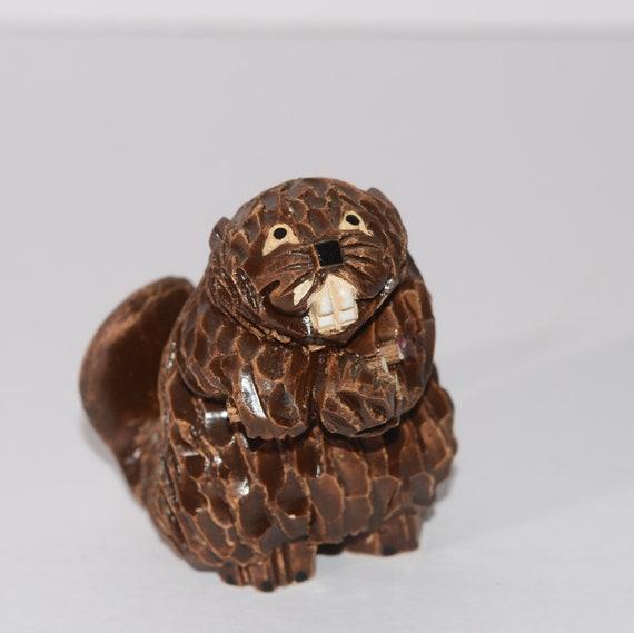 Artesania Rinconada Adult Beaver Handmade figurine  3.5 inch Classic Figurine 6 inches Clay animals Uruguay