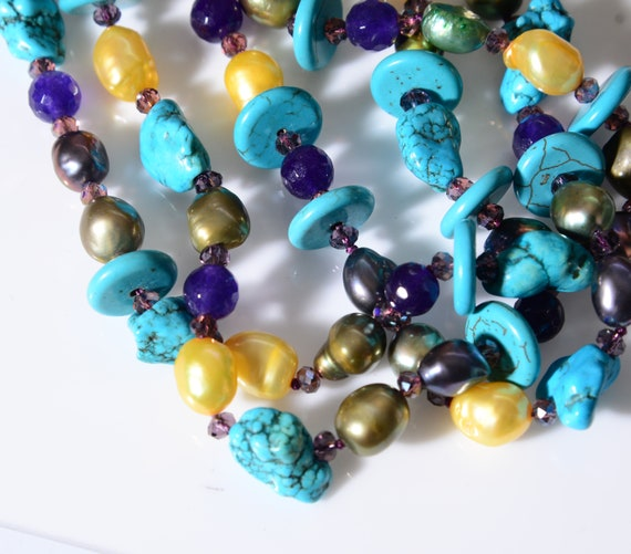 Vintage Glass and Pearlescent Bead Necklace hand strung, chunky beads of Turquoise , Purple, Gold and Silver beautiful Colorful Rich Costume