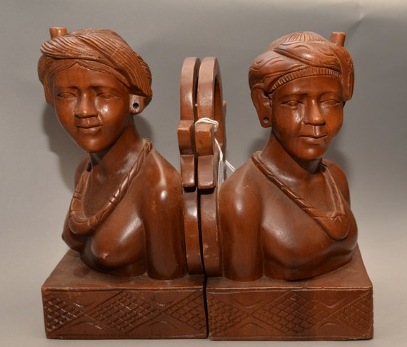 Heavy Carved Womens Bust Bookends Carved wood Bali Indonesian Folk Art Book Ends