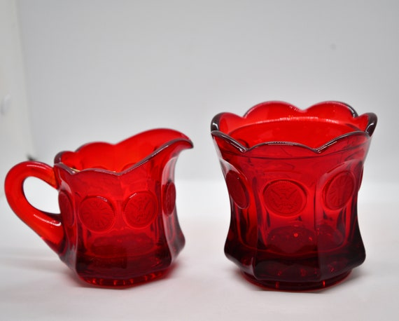 US Coin Pattern Glass Pressed Glass Creamer and Sugar Christmas Red Vintage Glassware Great Gift or for Chrsitmas Dining
