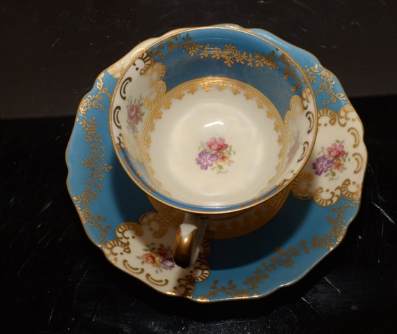 hutschenreuther Germany China Espresso Cup Demitasse Blue and gold with Roses Delicate Tea Cup