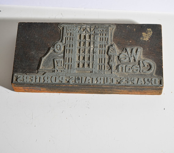 Art Deco Printing Block Letterpress Print block Dry Cleaners With Great Architecture Advertisment printing press Antique