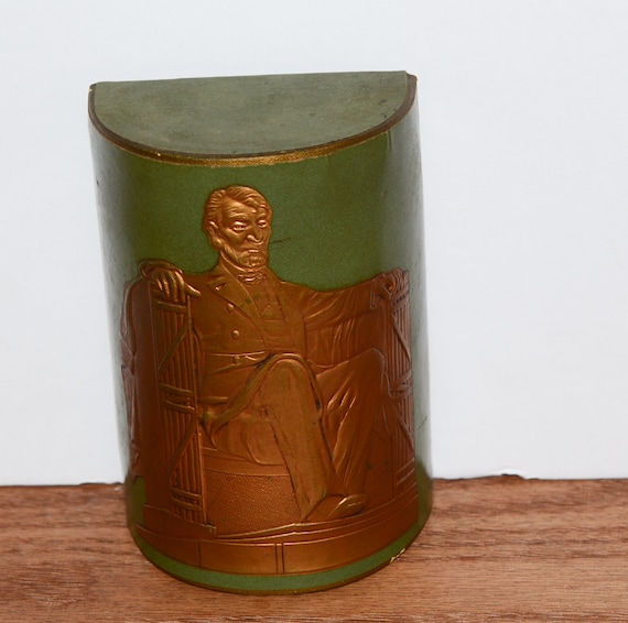 Leather Wrapped Vintage Green Lincoln Bookend Heavy Embossed Copper