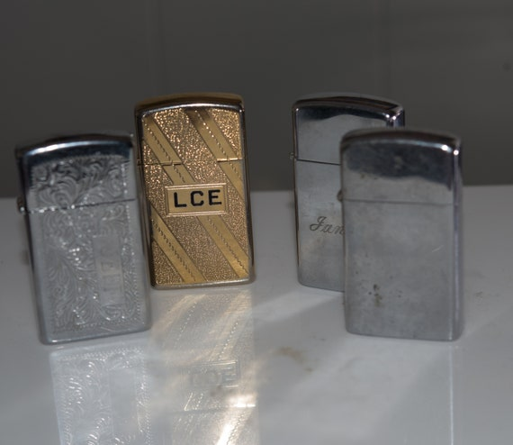 Lot of Vintage Slimline lighters oldest 1978-1986 Gold Tone, Machine Engraved, Monogramed Great collection