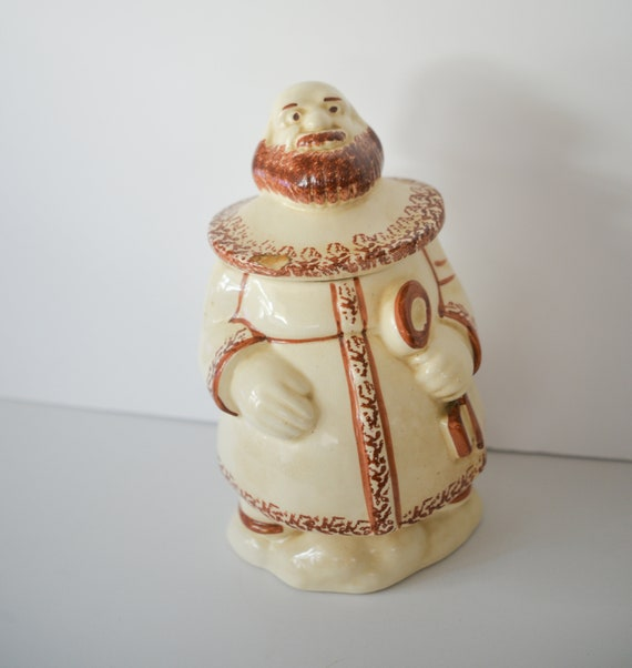 Vintage Pottery Cookie Jar Unusual Monk with Key Unknown Maker Hand Decorated Brown And white