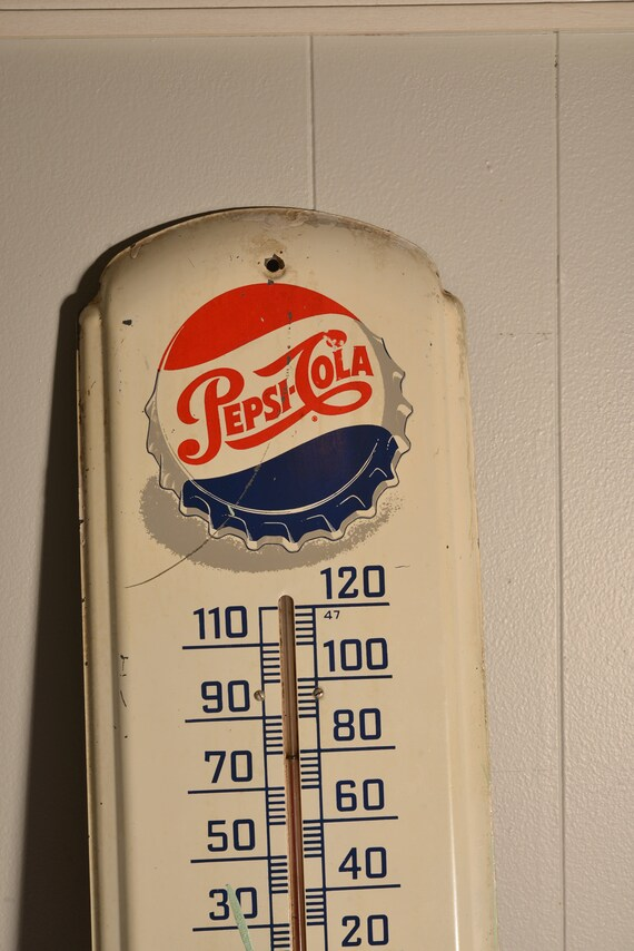 Vintage Pepsi Thermometer Any Weather is Pepsi Weather Logo 1950s Cap with Script Fresh Estate Pepsi Sign