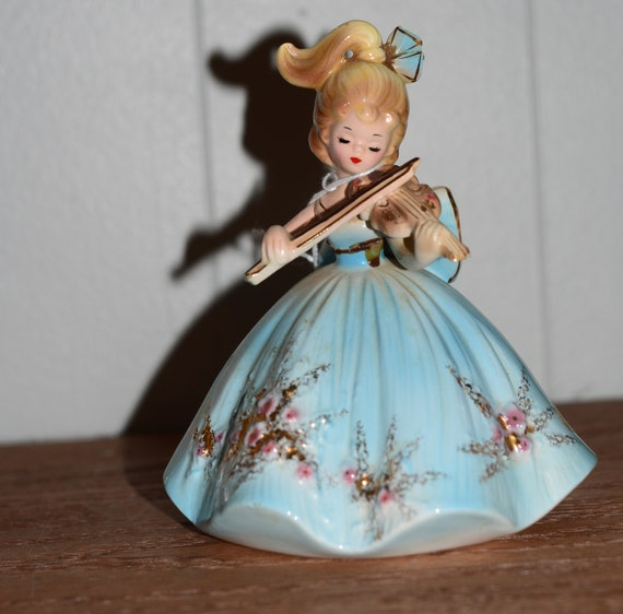 Josef Original Musical Girls Violin Blue Dress No Music Box Vintage Josef