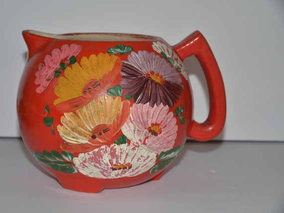 Ransburg Pottery Pitcher Marked - Dahlias Hand painted Bright Orange Country Kitchen