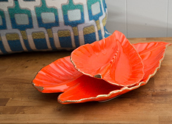 California Pottery Bright Lava Orange Ashtray Set Console Set, Leaf Shaped with Gold Accents Retro Modern Vintage Ceramic Decor