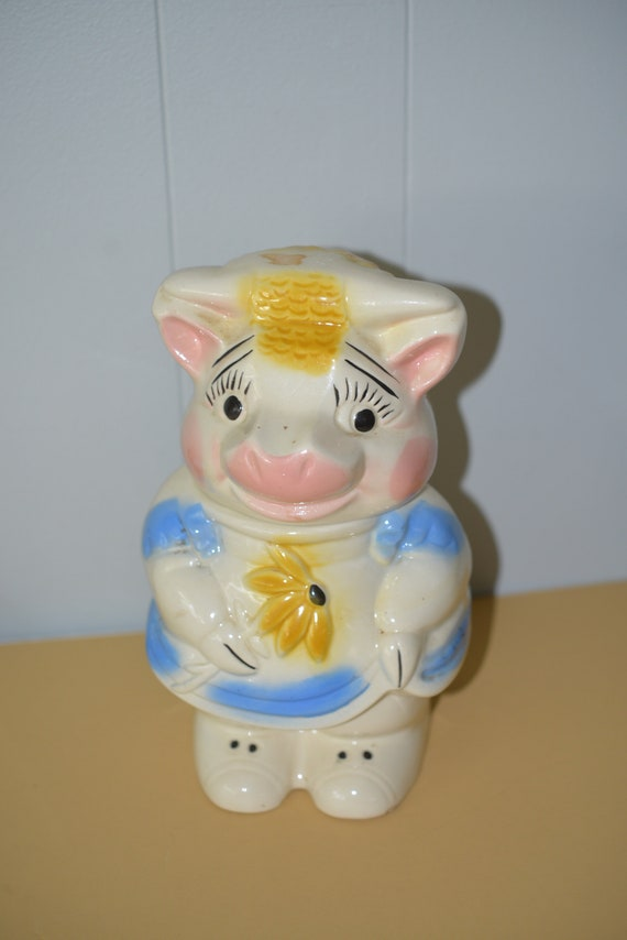 American Bisque Turnabout Cookie Jar Sheep and Pig four in One marked Pottery Cookie Jar Lamb two sided cookie Jar