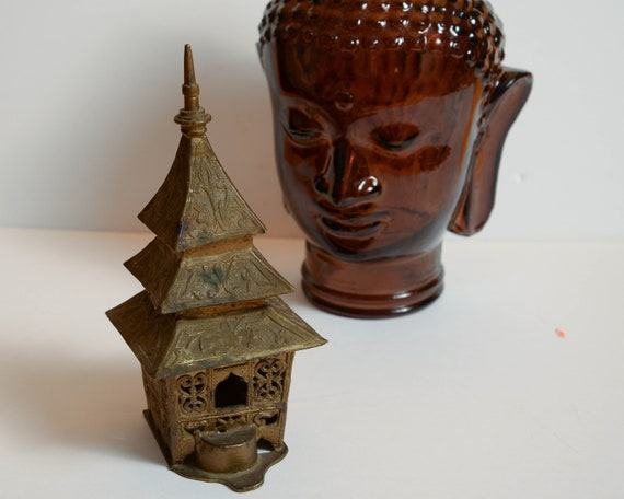 Solid Brass Pagoda Incense India or Thailand Incense burner Vintage Brass Patina 2 piece 13 inch set