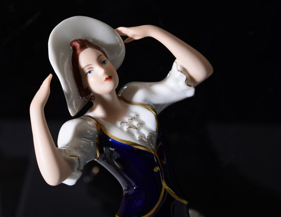 Cobalt Blue 1930s Woman Holding her Hat, Royal Dux Bohemian Porcelain figurine Czech Republic