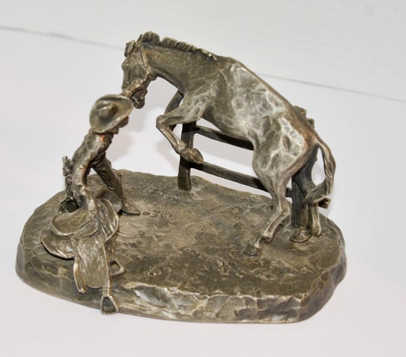Worcester Pewter Sculpture by Philip Kraczkowski Western the Catch The American  West 1976 Saddle Shy Cowboy saddling bucking Horse