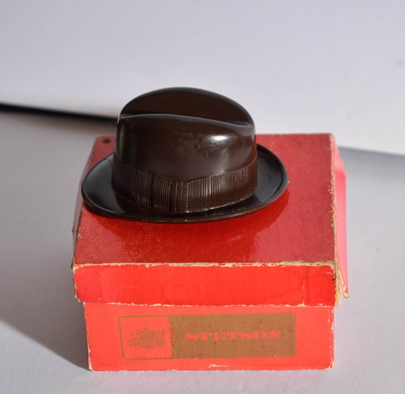 Miniature Brown Plastic Stetson hat with box Vintage Stetson Advertising Promo