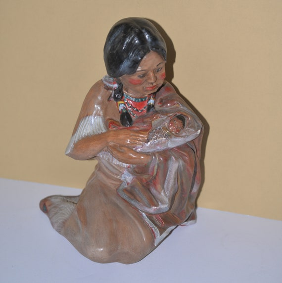 Vintage Chalkware Indian figurine Native American Mother and Child Large Chalk figure