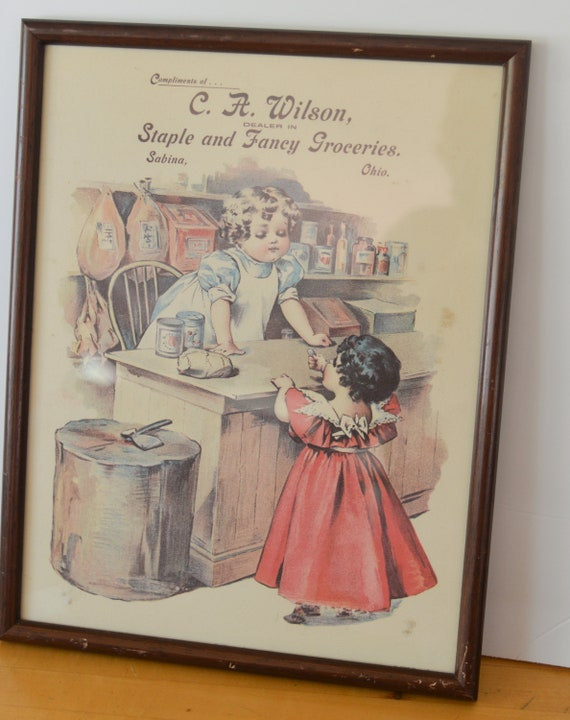 Sabina Ohio, Reprint Framed 1980s country Store CA Wilson Toddlers Grocery Store