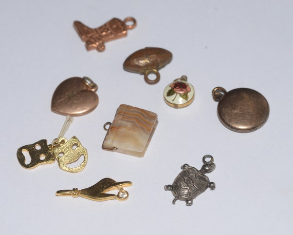 Lot of vintage charms for Charm Bracelets hand, turtle, heart, locket, boot , drama mask more 9 pieces jewelry findings free ship