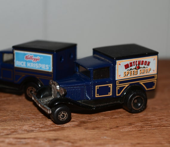 1979.Two Model A Ford Trucks Matchbox Speed shop and Kellogs Matchbox  Super Fast Advertising promo Matchbox