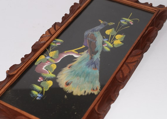 Peacock Bird Feather Art Vintage Mexico Painting of Feathers  16x8 Beautiful colors Folk Art  Yellow Red Bird Oil  Painting