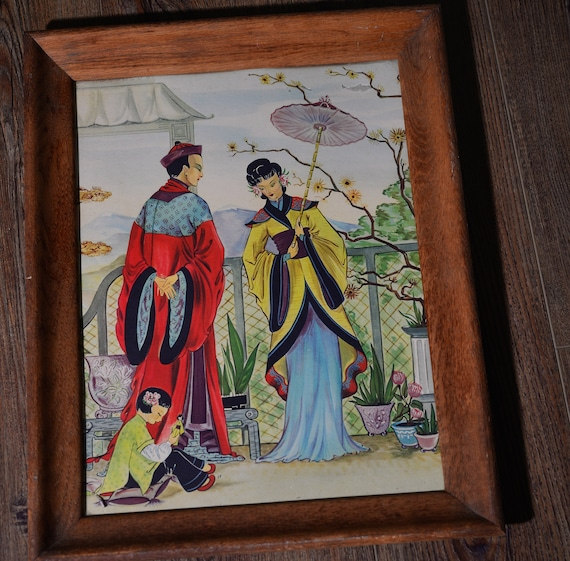 1940-50s Chinese Asian Print Very colorful Framed PArents with Child in Asian Garden