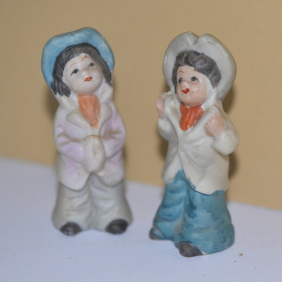 Pair of Made in Japan Bisque Children Playing dressup figurines 1950s 4 inches Children Figures