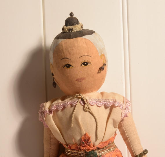 Nepal or India Cloth Rag Doll Folk Art Hand Made Vintage 1950s Doll