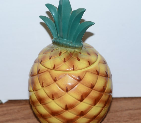Abingdon Pineapple Cookie Jar 1949 Number 664 Pottery Original Vintage Cookie Jar with Great Color Tropical Theme