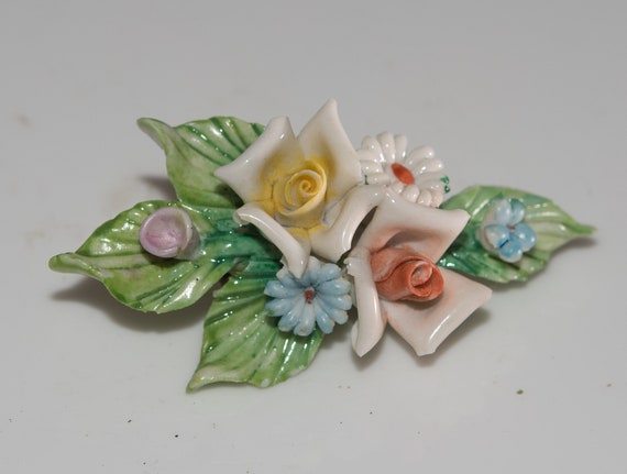 porcelain capodimonte style brooch or pin, clay hand made floral spray