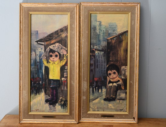 Ozz Franca 1960s Framed Prints Vintage Big Eye Children Cover Girl and No Sale News Boy  18x9 inches Mid Centry Bold Art