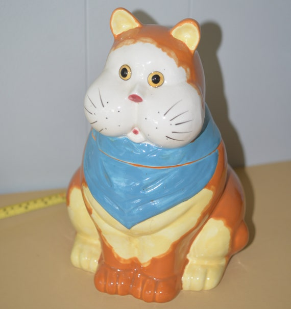 1970s Fat Cat Cookie Jar Orange Tabby Cat with Blue Scarf Ceramic Cookie jar Large Kitchy Decor