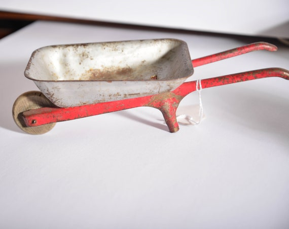 Chippy shelf sitter toy Miniature Wheelbarrow Made in USA Pressed steel toys vintage toy tools