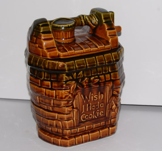 Classic McCoy Wish I had a Cookie Cookie Jar Wishing Well 1970s Mint Condition Great Pottery Vintage Cookie jar