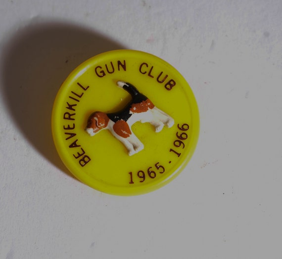 Vintage 1966 Beaverkill Gun club Beagle Hunting Membership pin with Beagle Hunting clubs vintage pinback, Pin or button