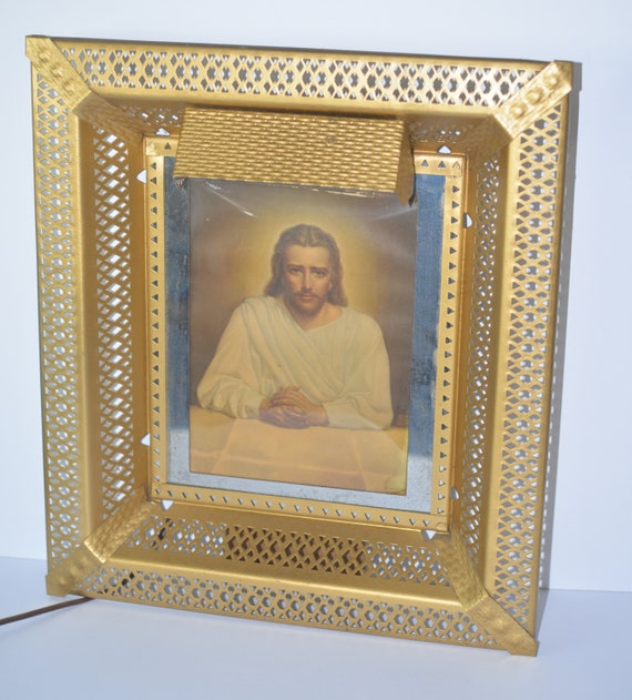 Vintage Metal framed Lighted Jesus Mid Century Religious Wall Hanging Works Great Easle back or hang kitsch