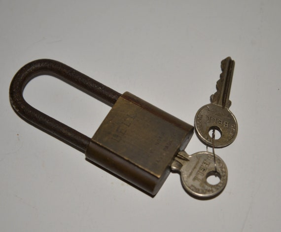 Vintage padlock Marked Bell Long Hasp With Key Antique Padlock