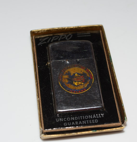 Naval Communication Center Iceland Navy Base Zippo Lighter 1974 With orginal Box