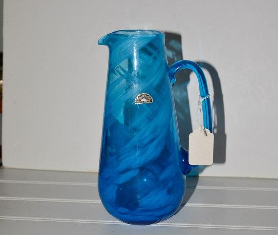 Rainbow Art Glass Blue swirl Glass Pitcher Rough Cut Pontil Viking West Virginia Glassmakers With Sticker 1960s