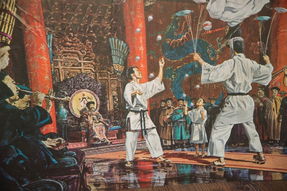 Saratoga SPA Summer Theater Harper Goff Disney Animator Prints Chinese Acrobats 1960s Circus Asian Theater 1962