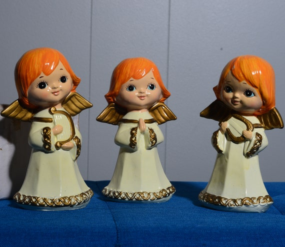 1960s Paper Mache Angel Choir mid Century pop with Original Box Retro MCM Christmas Decorations Angels