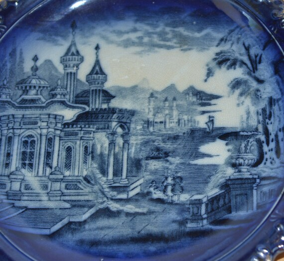 11 inch Flow Blue Transferware James Kent Persian Scene Cobalt Blue Cabinet Plate With Wire C1890-1920 free shipping us