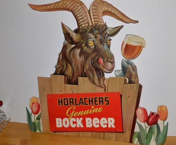 Horlachers Bock Beer Cardboard Original 1950 Goat Easel Back Beer Sign Vintage Man Cave Sign Billy Goat Beer Allentown PA