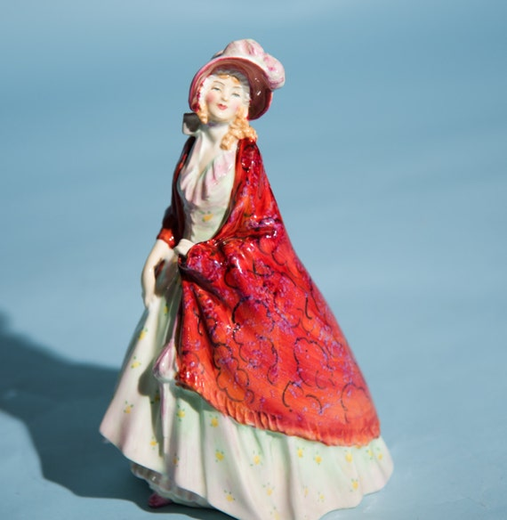 Royal Doulton  Figurine HN 1392 Paisley Shawl Figurine Leslie  Harradine 1930-1949 Red flowered Shawl Free Ship USA