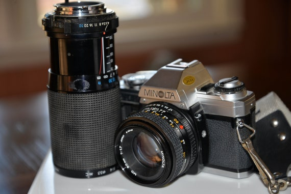 Vintage Minolta SLR Camera with 50mm and 70-210 Macro Working Film Camera  1984 All Solid Film Camera to try photography , photographers
