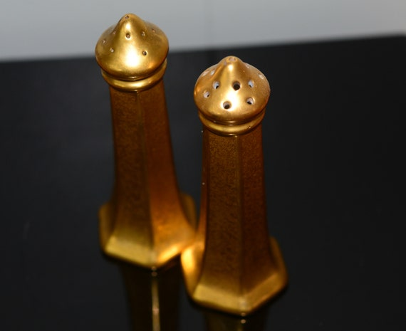Gold Encrusted Pickard China Gold Salt and Pepper Shakers 1930s Wedding gift Formal Dining